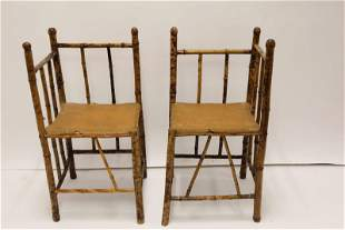 Pr Antique Flame Finished Bamboo Chairs Reed Seats