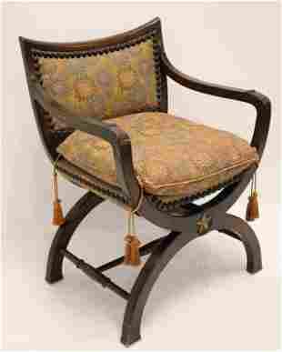 19th Century Savonarola Chair w Five Pointed Star