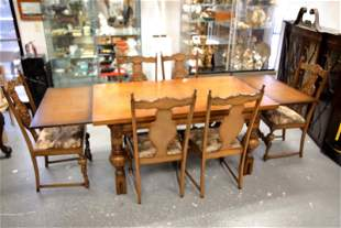 Medieval Style Oak Table 6 Chairs w Drinking Monks