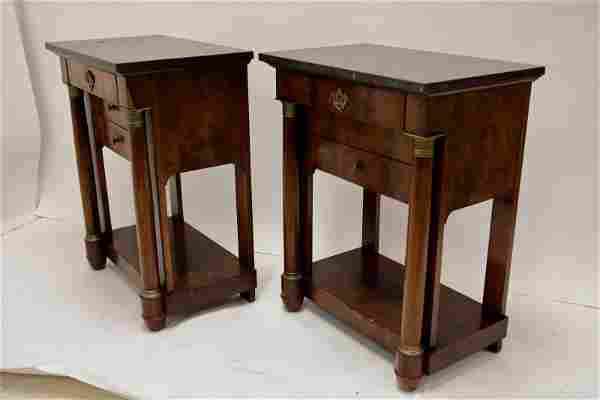Pr 19c French Empire 2 Drawer Bronze Mount Tables