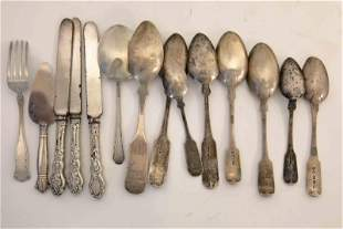 (14)pc 8- Antique Coin Silver Spoons 4-Sterling