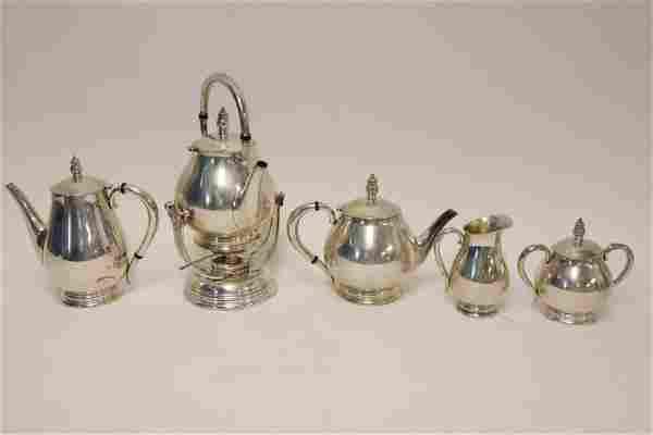 "5 pc International Sterling ""Royal Danish"" Tea Set"