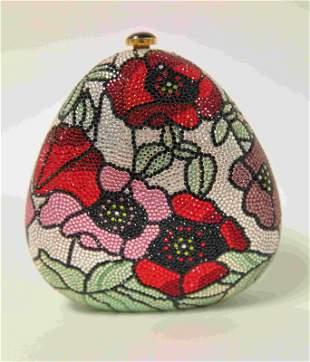 Judith Leiber Colorful Rhinestone Flower Clutch