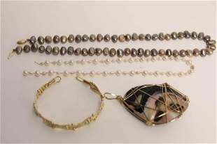 (4) Pcs Pearl Necklaces, Pendant & Gold Bracelet