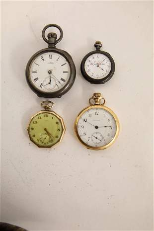 (4) Antique Pocket Watches (2) Sterling (2) Gold