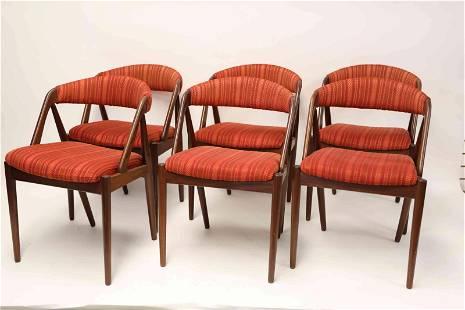 Kai Kristiansen Danish Teak Dining Table 6 Chairs