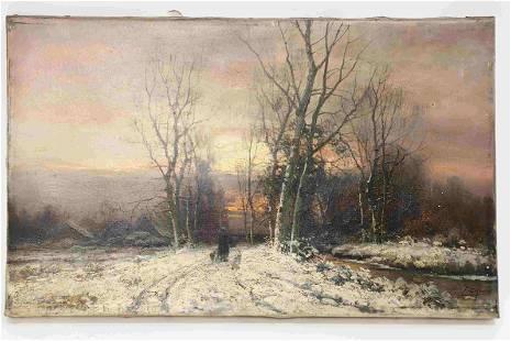 19c Signed Oil on Canvas Pastoral Winter Scene