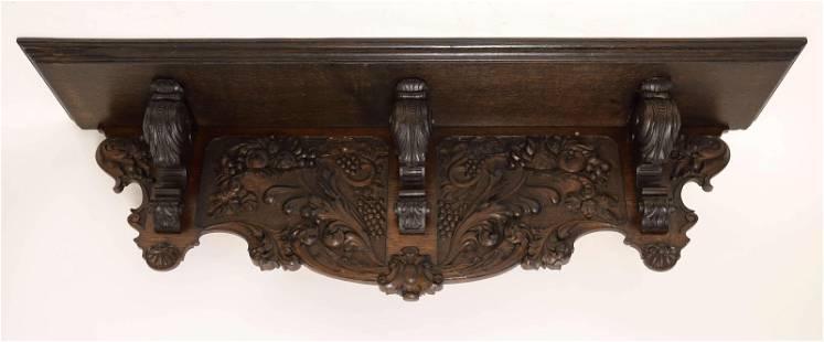 19c Victorian Walnut Wall Shelf w Carved Apron