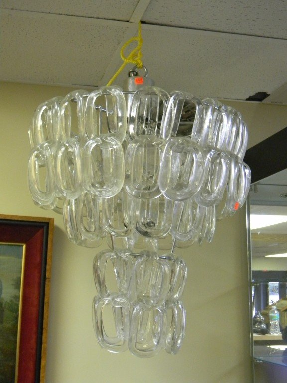 16: Glass and chrome chandelier