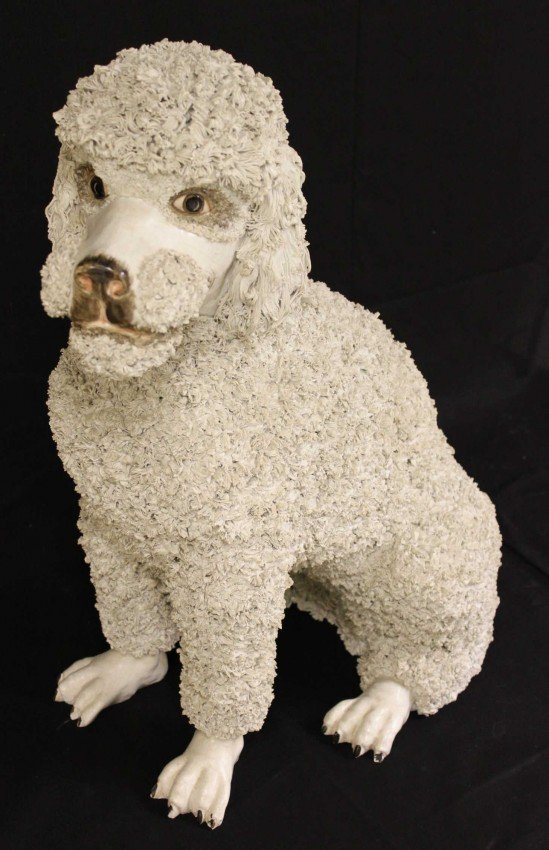 22: Majolica Palissy-Ware Standard Poodle Sculpture