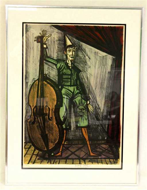 131: Bernard Buffet Lithograph. Harlequin with Cello.