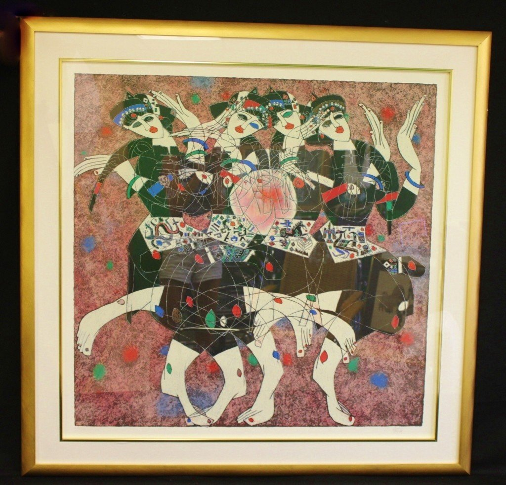 "4: Jiang Tie Feng Serigraph, ""Moonlight Dance"""