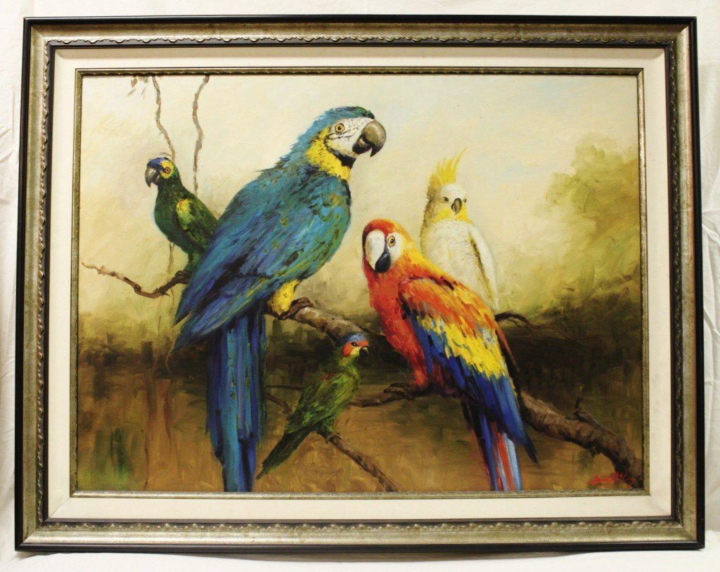 8: Oil on canvas Parrots