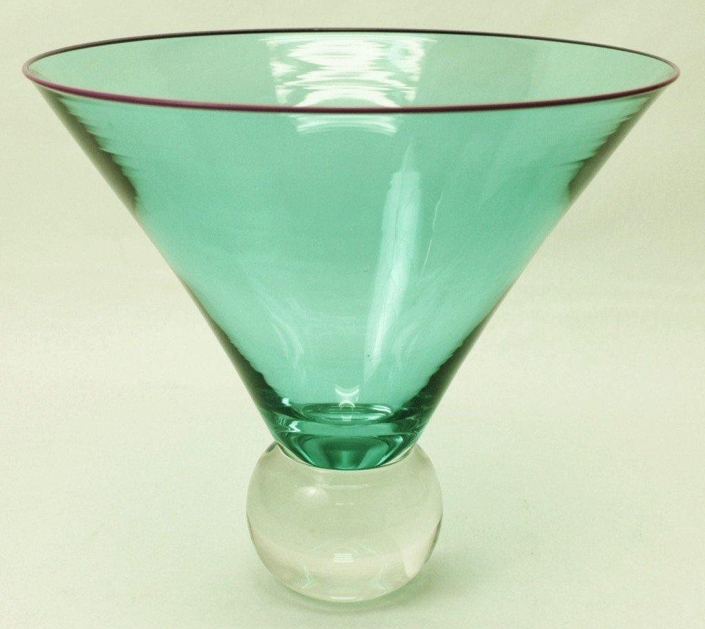 55: Young & Constantin Teal Art Glass Bowl