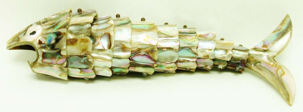 122: Abalone and Silver Plate Fish Bottle Opener