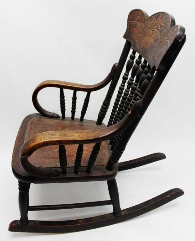 194 1880 S Oak Child S Or Doll Size Rocking Chair
