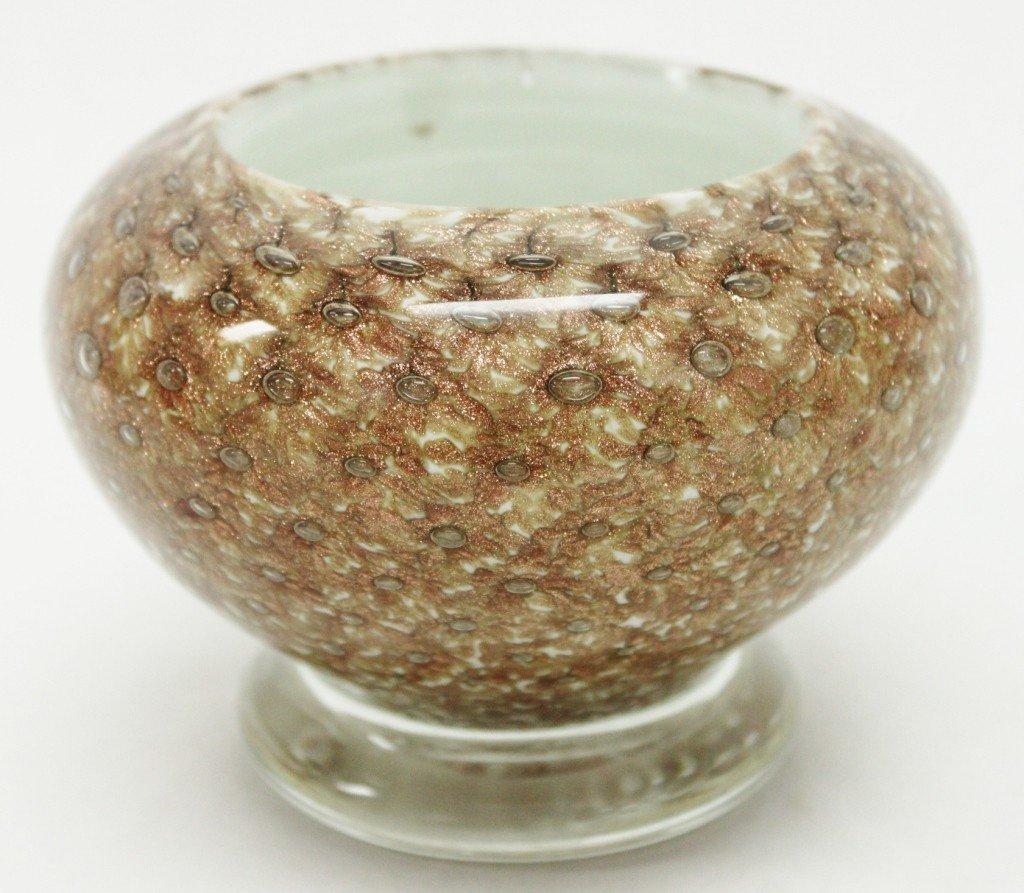 3: Seguso Art Glass Footed Bowl w/ Gold Flecks