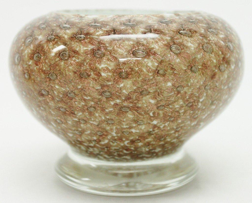 3: Seguso Art Glass Footed Bowl w/ Gold Flecks - 2