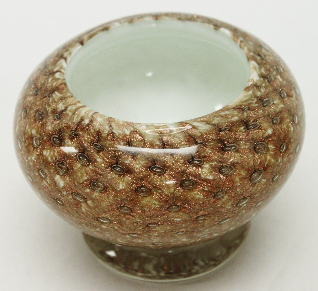 3: Seguso Art Glass Footed Bowl w/ Gold Flecks - 4
