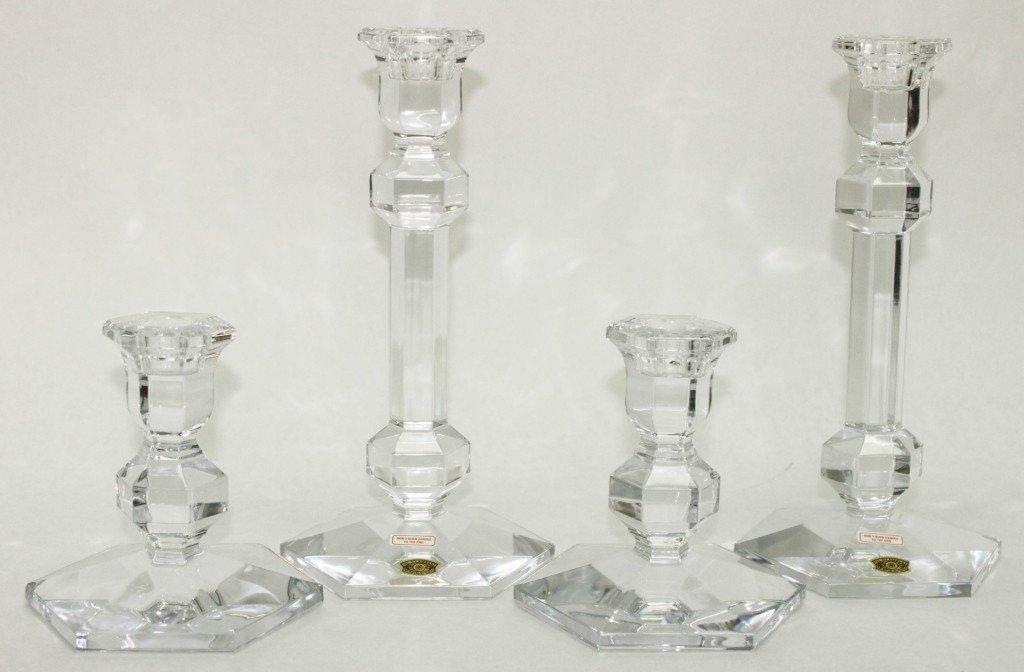 4: Set of (4) Val St. Lambert Crystal Candlesticks