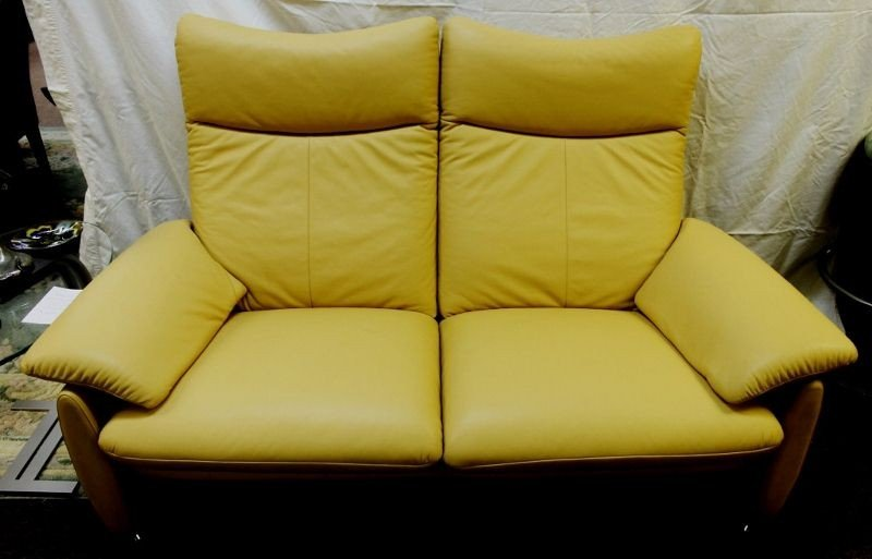 16: Laauser, Germany Leather Reclining Loveseat