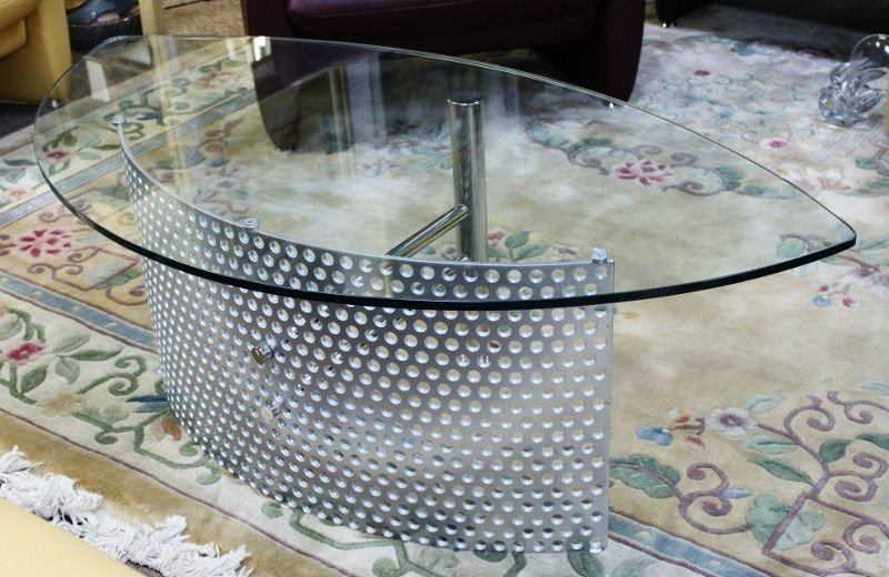 18: Glass and Chrome Coffee Table.  Germany - 3