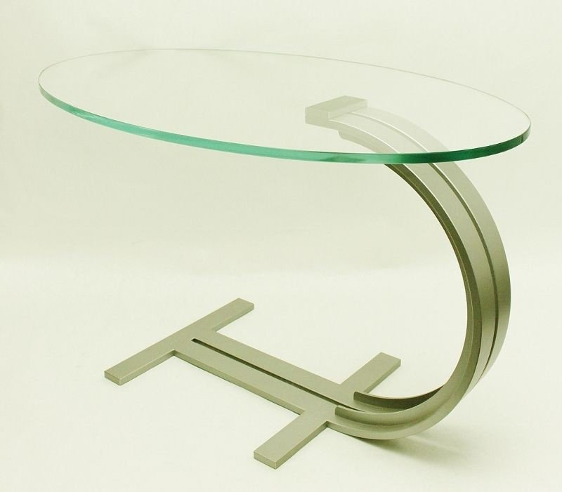 19: Brushed Chrome and Glass End Table. Germany