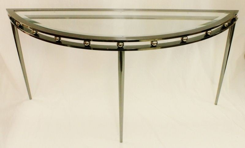 20: Polished Steel and Glass Console Table Germany