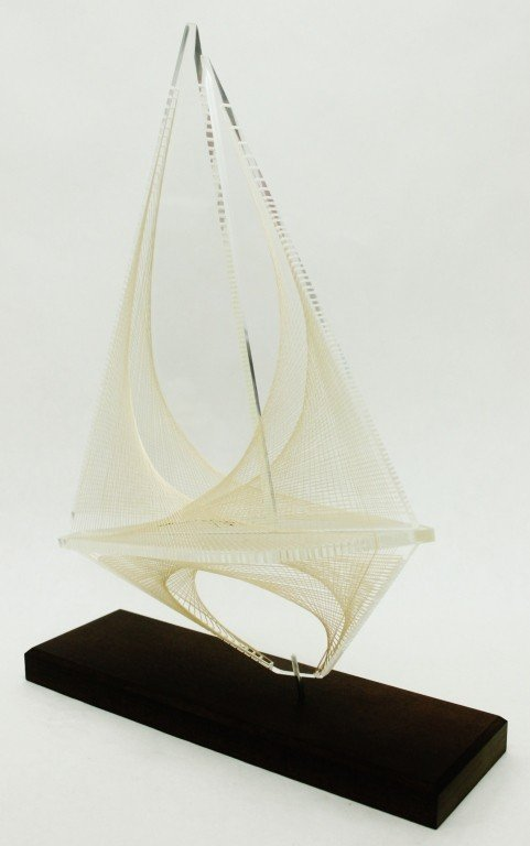 23: Acrylic and String Sailboat Sculpture