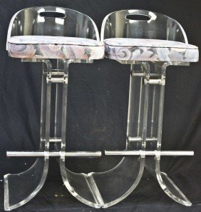 Pair Of Charles Hollis Jones Acrylic Barstools