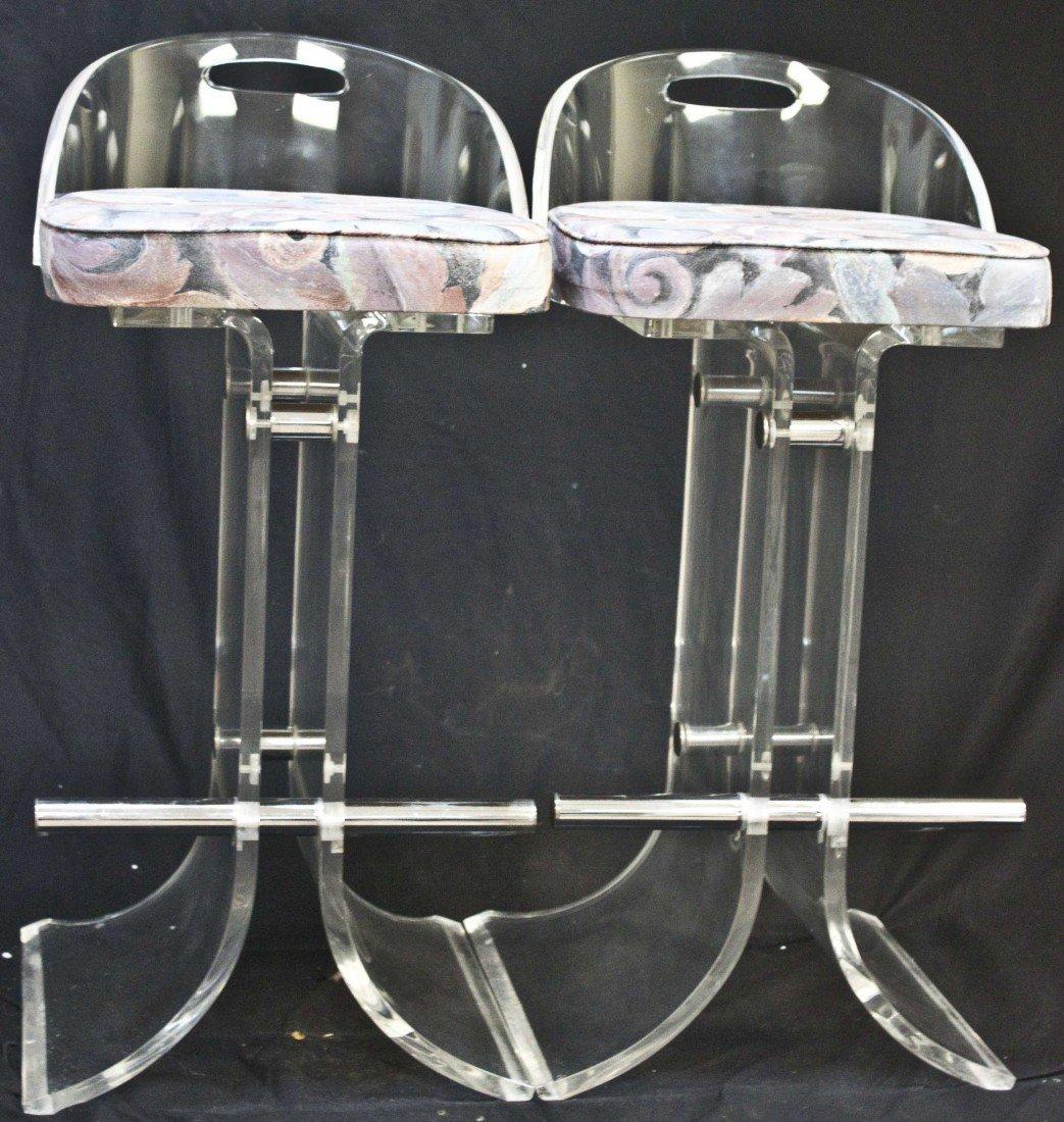 27: Pair Of Charles Hollis Jones Acrylic Barstools