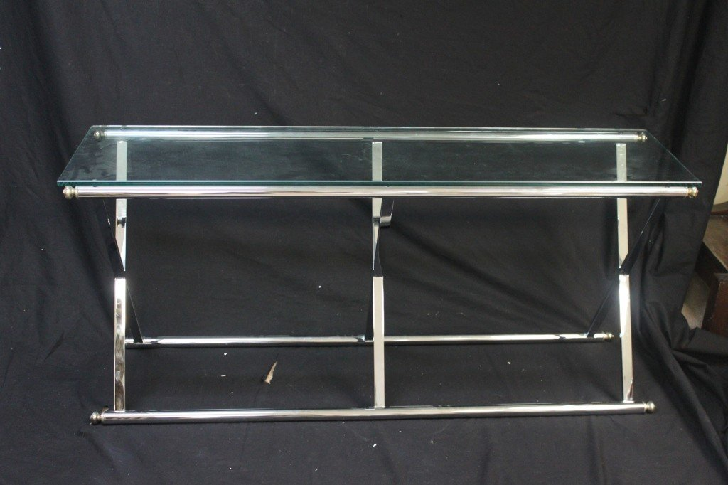 35: Chrome And Glass Console or Sofa Table