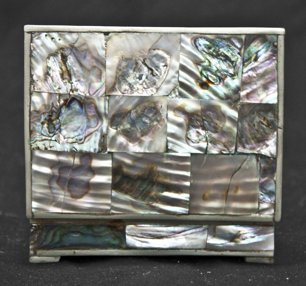 43: Mexican Silver And Mother Of Pearl Box