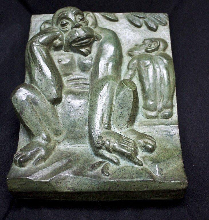 68: Art Deco Bronze Plaque W/ Green Patina