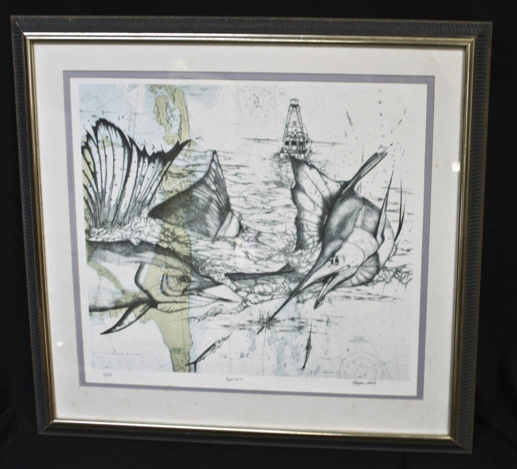"""76: Marjorie Smith Lithograph, """"reef Cup '97"""""""