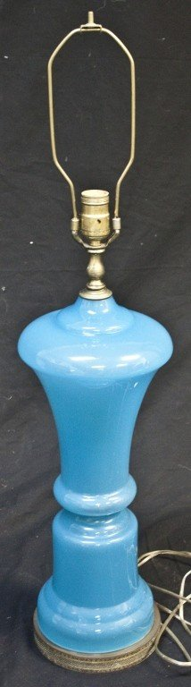 88: French Opaline Blue Glass Lamp