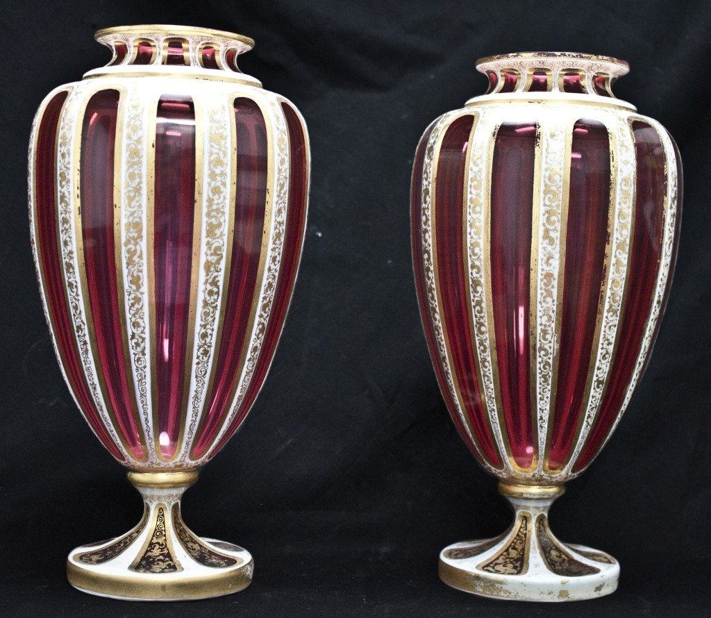 89: Pair Of Cut Cranberry Glass Vases