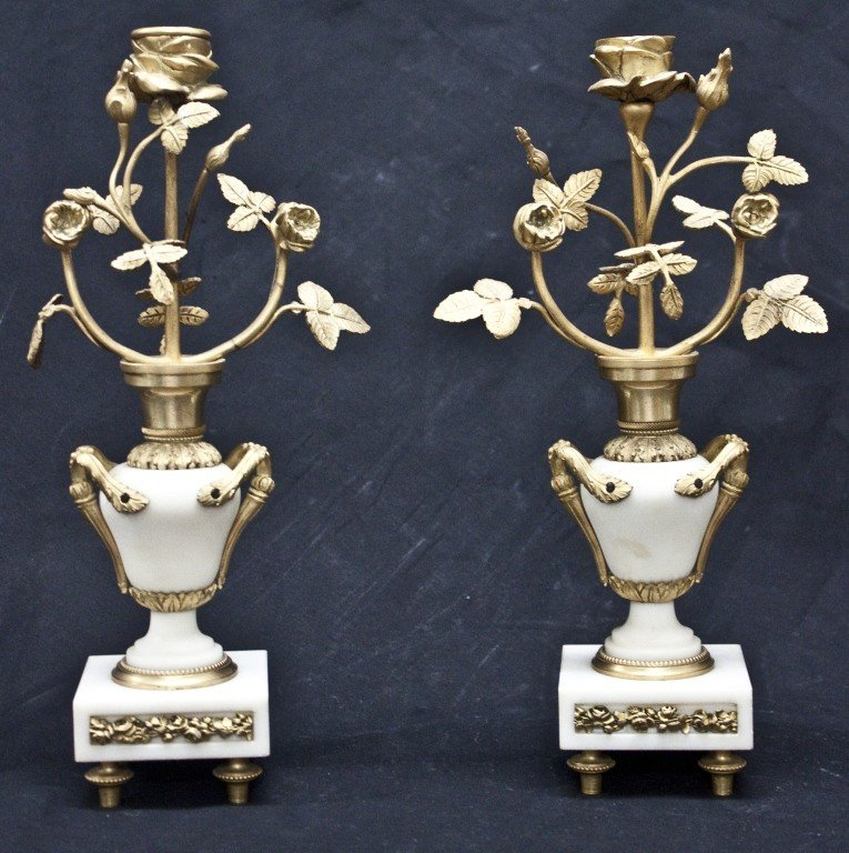 90:19th C French White Marble dore Bronze Candlesticks