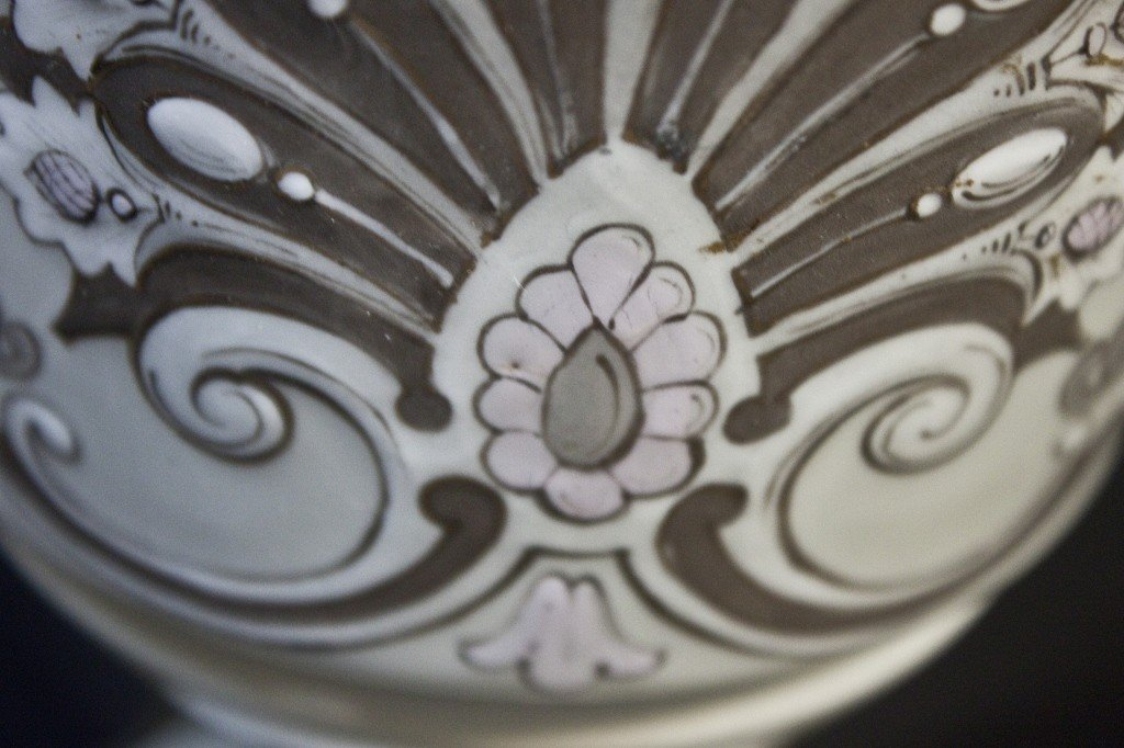 94: 19th C French Porcelain + Enamel Oil Lamp