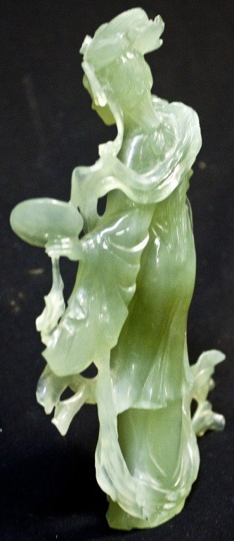 138: Chinese Jade Figurine Of A Woman Holding A Mirror - 2