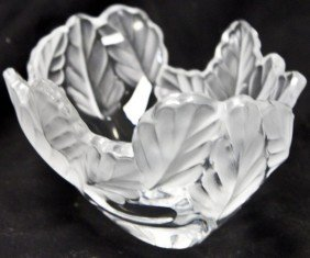2: Lalique France Naturalistic Leaf Bowl
