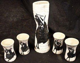 6: Modernistic 5 pc. Ceramic Spanish Wine Set