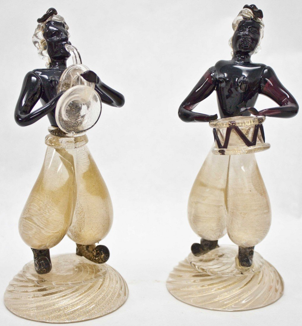 11: Pair Of Alfredo Barbini Murano Musicians
