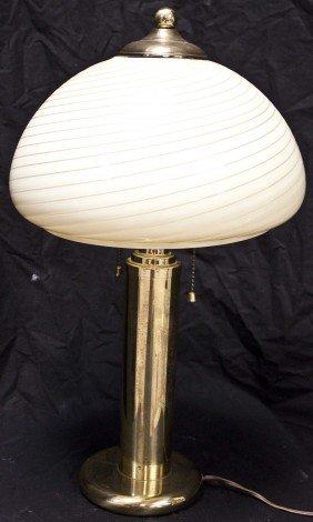 17: Vetri Brass Lamp W/ Murano Swirl Globe