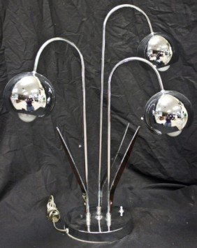 21: French Mid Century Design Chrome And Lucite Lamp