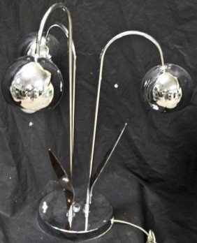 22: French Mid Century Design Chrome And Lucite Lamp