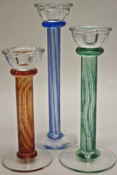 1: Group Of 3 Kosta Boda Candlesticks