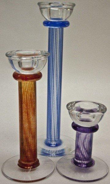 2: Group Of 3 Kosta Boda Candlesticks