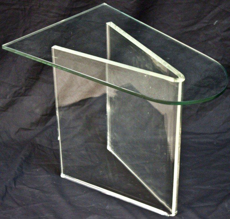 9: Mid C Modern V Shaped Lucite Side Table