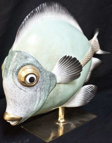 20: Large Oggetti Porcelain Painted Parrot Fish